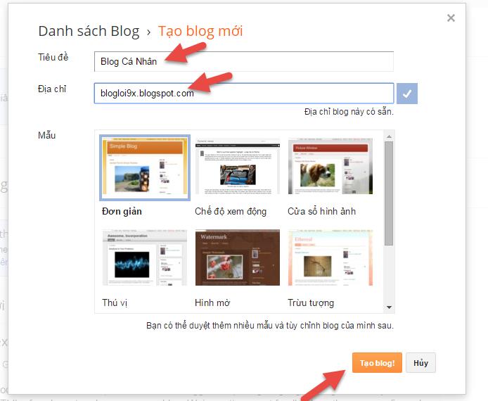 hướng dẫn cài đặt blogspot 01