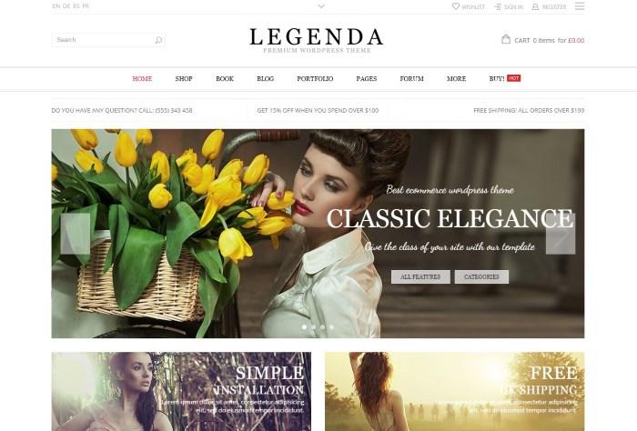 Theme wordpress bán hàng Legende