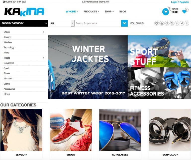 theme wordpress bán hàng miễn phí Kakina
