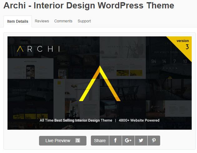 Theme WordPress về nội thất archi