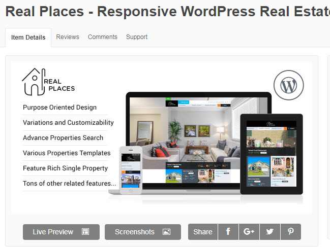theme wordpress bất động sản real places