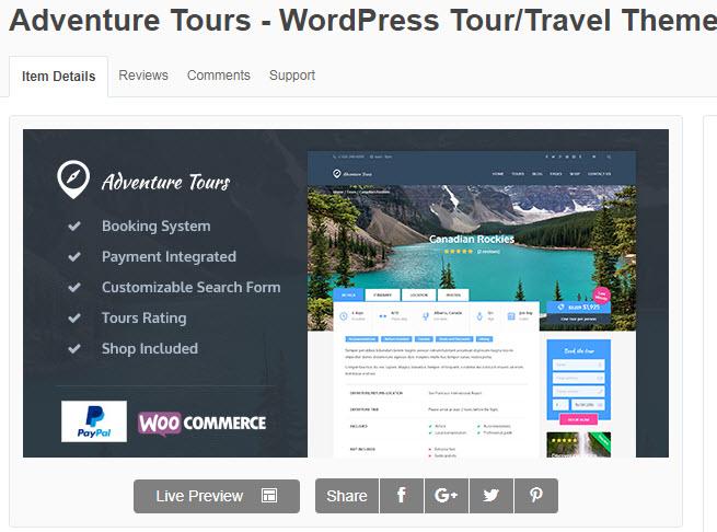 theme wordpress du lịch Adventure Tours