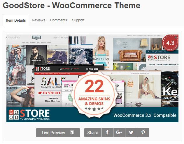 Theme WordPress về lĩnh vực nội thất goodstore