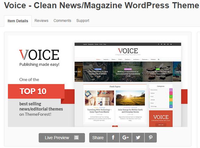 theme wordpress tin tức voice