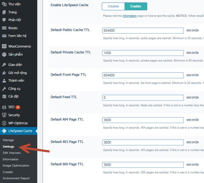 hướng dẫn cài đặt litespeed cache cho wordpress