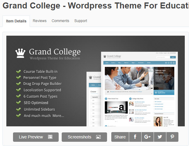 theme wordpress giáo dục Grand College