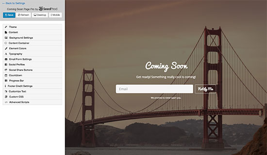 plugin tạo landing page Coming Soon Pro