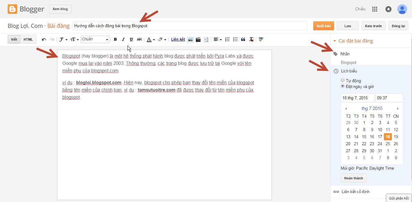 Cách đăng bài viết trong Blogspot 03