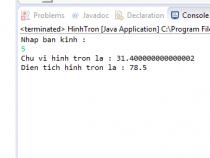 Tính chu vi và diện tích hình tròn trong Java