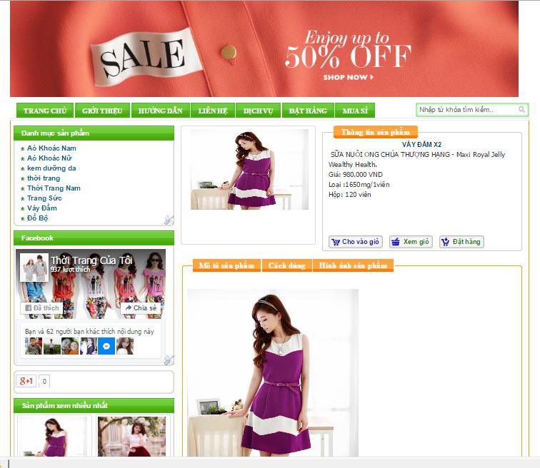 Template bán hàng Blogspot miễn phí 01