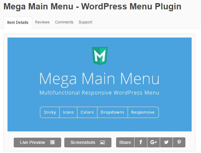 Share plugin mega main menu wordpress