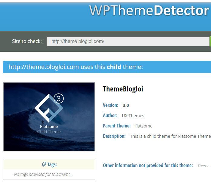 cách tìm tên theme website wordpress