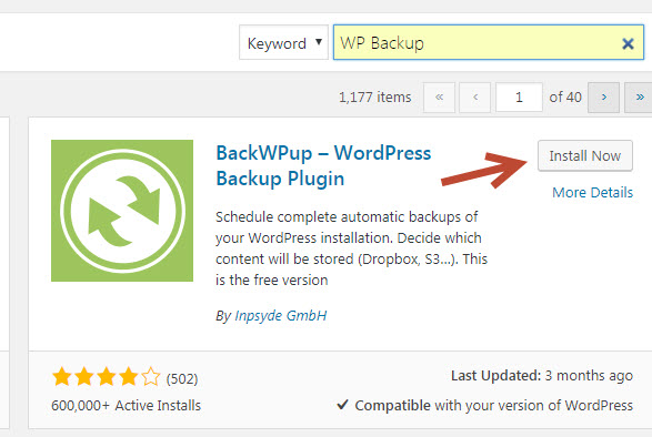 backup wordpress tự động với Plugin WP Backup