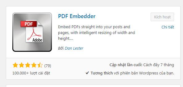 nhúng file pdf vào wordpress