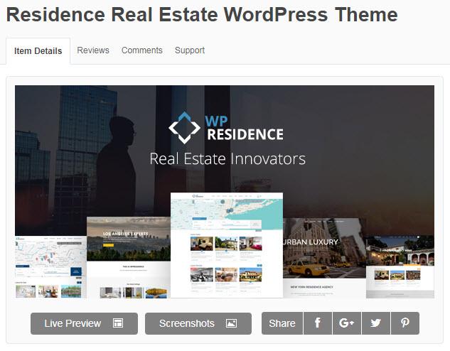 Theme wordpress bất động sản Residence
