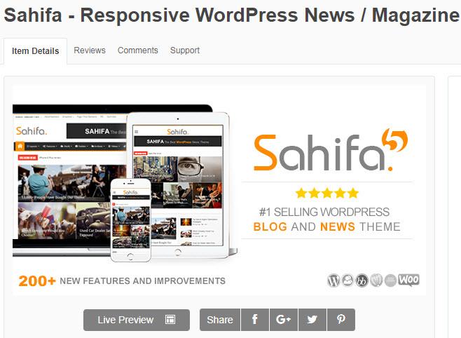 theme wordpress tin tức sahifa