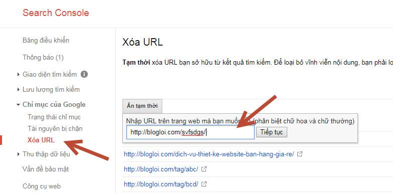 xóa link 4040 google webmaster tools