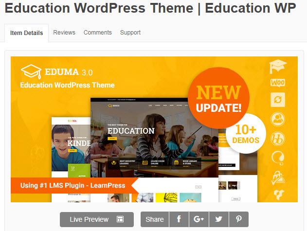theme wordpress giáo dục eduma