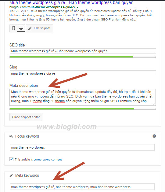 thêm thẻ meta keywords và meta descriptions trong wordpress