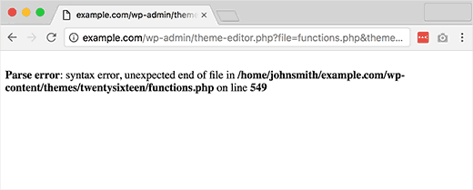 sửa lỗi Syntax Error trong wordpress
