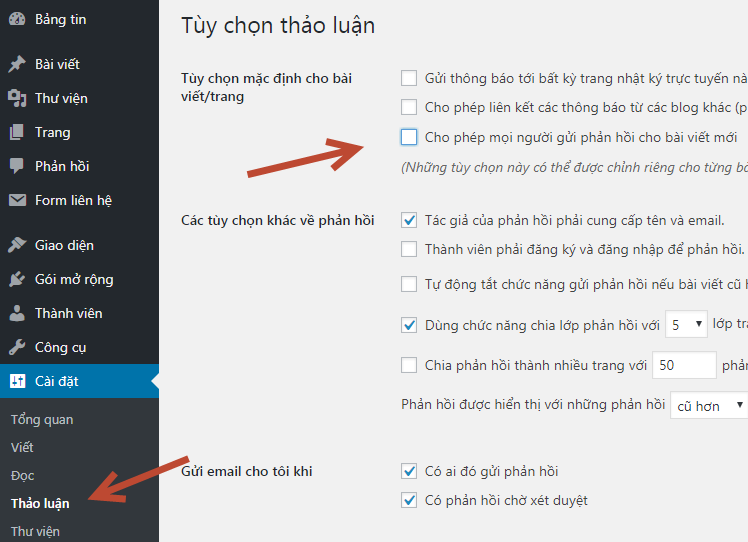 hướng dẫn tắt comment trong wordpress