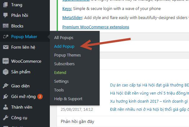 plugin tạo popup cho wordpress