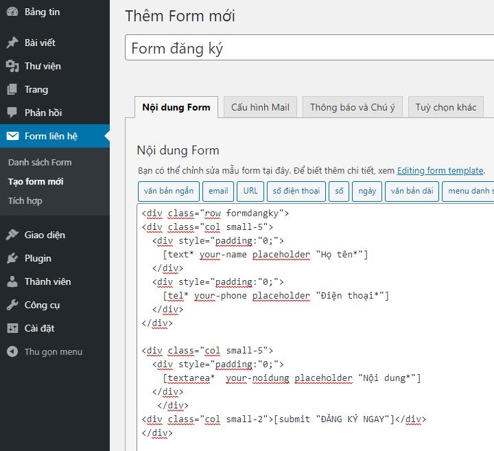 Cách tạo Form 3 cột bằng Plugin Contact Form 7
